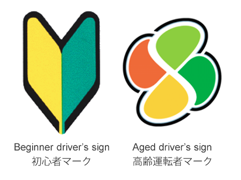 Beginner driver's sign and Aged driver's sign