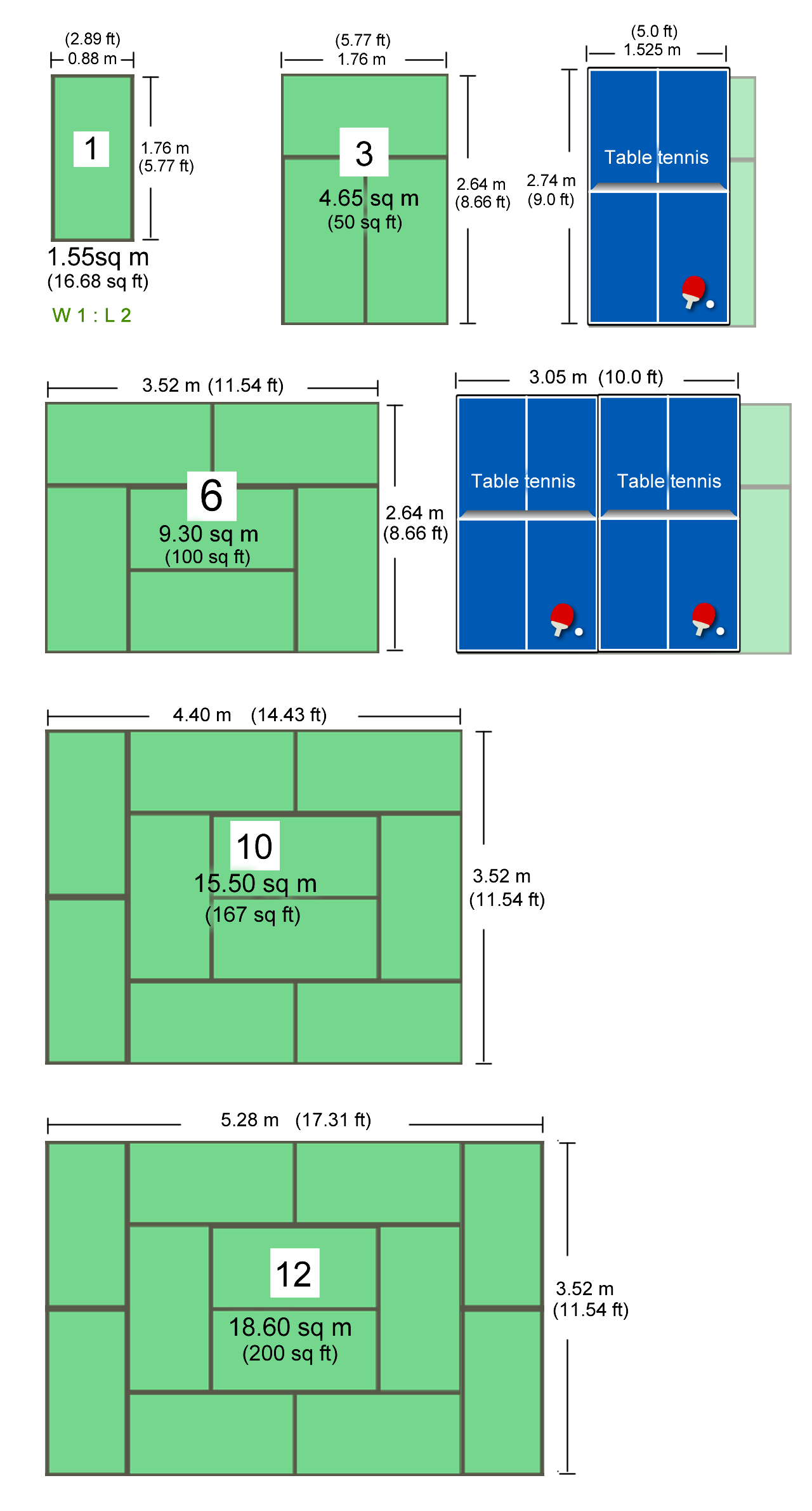 Tatami room size examples